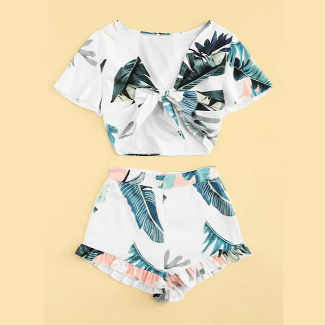 JAYCOSIN Women Clothes Set Sexy Summer Leaves Print Two Piece Set V-Neck Short Sleeve Strap Top And Short Pants Ladies Outfits