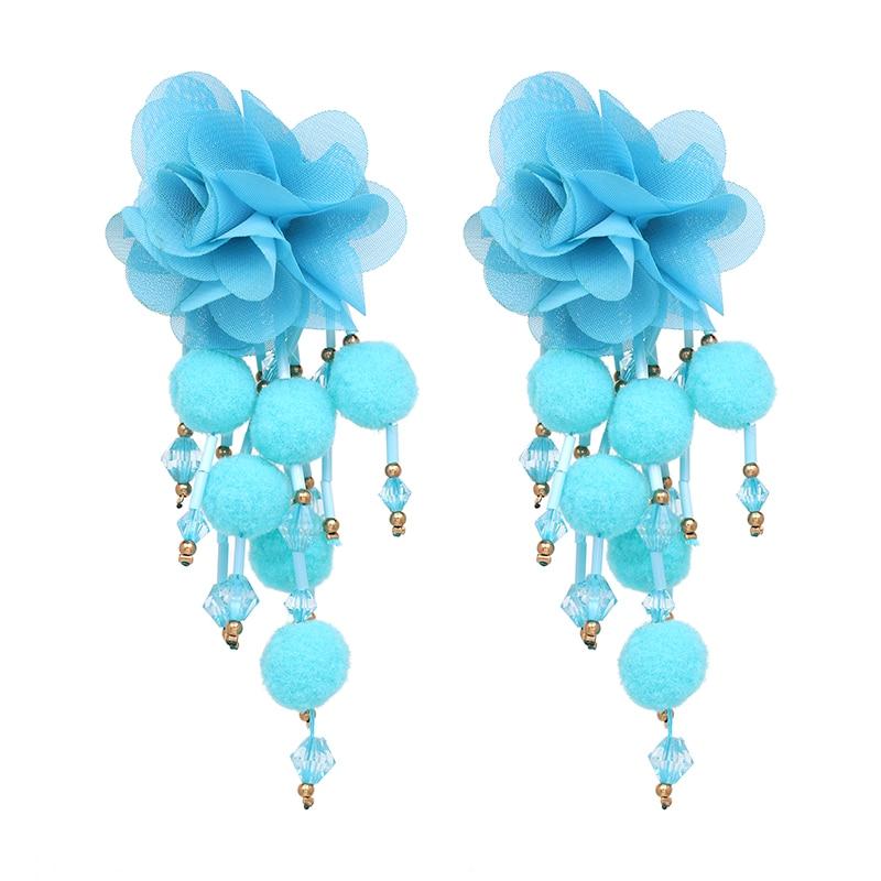 JUJIA Bohemian Long Flower Earrings Pom Pom Big Statement Earrings Fringe Drop Earrings Women Jewelry 18