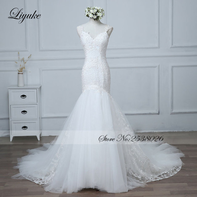 Liyuke Fabulous Pearls Mermaid Wedding Dress Court Train Backless ...