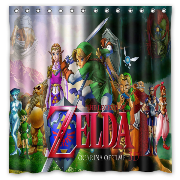 Legend Of Zelda Printing Waterproof Shower Curtain 100 Mildewproof Polyester Fabric Bath Curtains 72x72inch With 12 Hooks In From Home