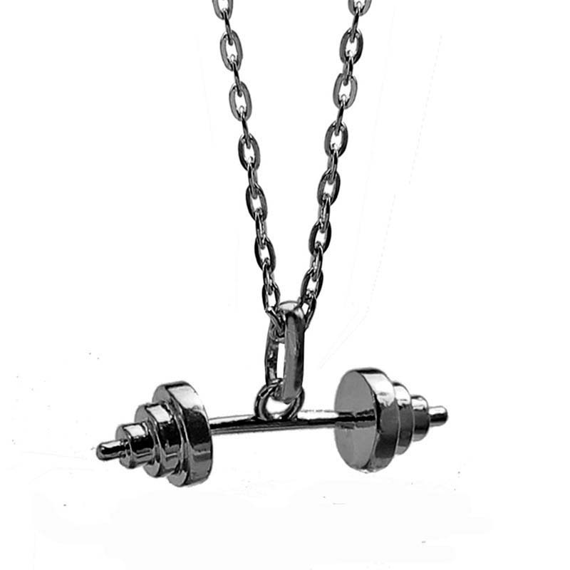 Dumbbell Pendant Necklaces for Women Fitness Jewelry Copper Made Gun Black Plated Female Cloth Accessories 10PCS Wholesale New