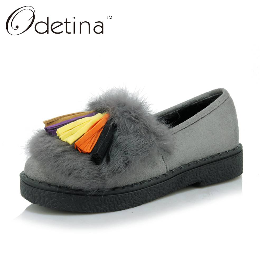 1450f62b64f Odetina Suede Fur Loafers Women Large Size Boat Shoes Ladies Slip on ...