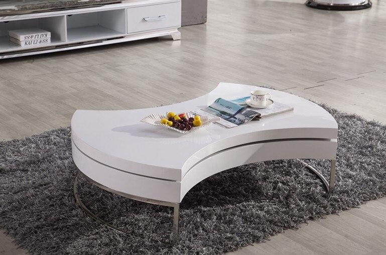 Table basse/Table à Thé, Design moderne, MDF + Spéculaire Peinture support en acier Inoxydable, peut Tourner avec de stockage Table ronde 4G-068 # - 5