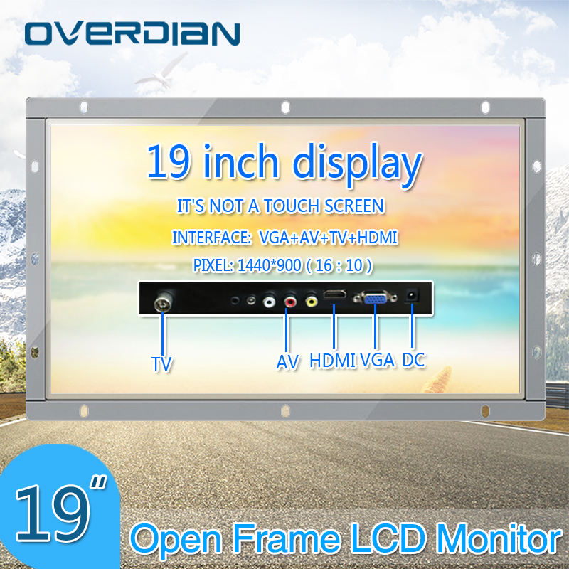 19inch/19 Industrial Control Lcd Non Touch Screen Monitor VGA/HDMI/TV/AV Interface Metal Shell White Open Frame1440*900