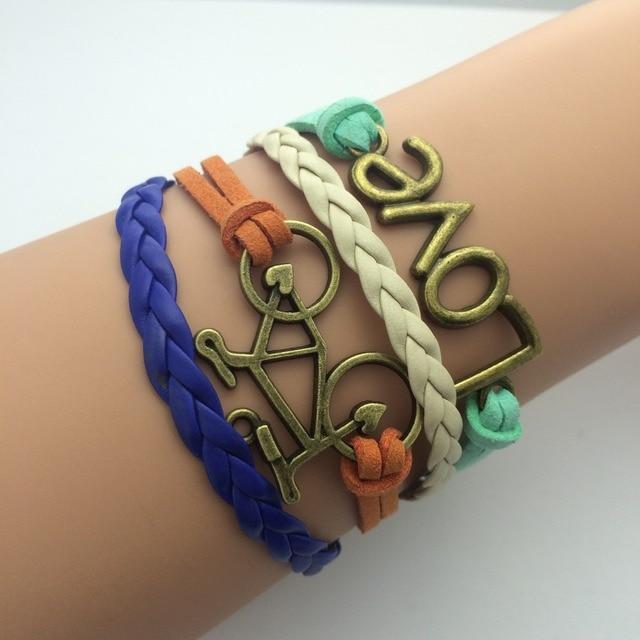 Male Bracelet Leather Wrap Charm Bracelet Bohemian Female Jewelry