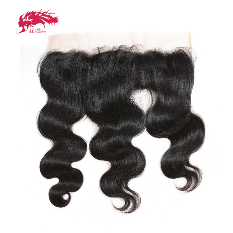 Ali Queen Body Wave Peruvian Virgin Hair Lace Frontal Bleached Knot Natural Color 12 to 18