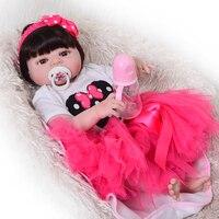Fashion 23 Realistic Princess Baby Doll Full Silicone Body Wig Hair Baby Toy Wear Cute Pink