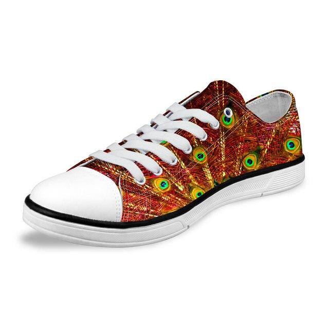 Весна Лето Мода Женская Обувь Повседневная Дышащие Низким верха Обуви Холст для Женщин Павлиньи Перья Печати Дамы на Плоской Подошве