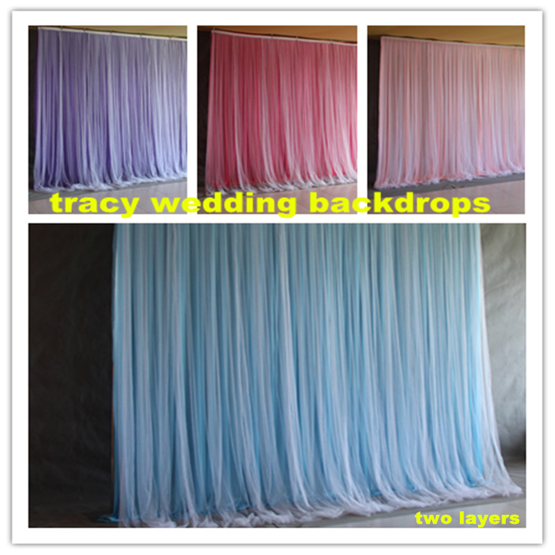 Wedding Backdrop Drapery With Front Organza Swag Drape Customade Party Background Curtain Wedding Decoration CR987Wedding Backdrop Drapery With Front Organza Swag Drape Customade Party Background Curtain Wedding Decoration CR987