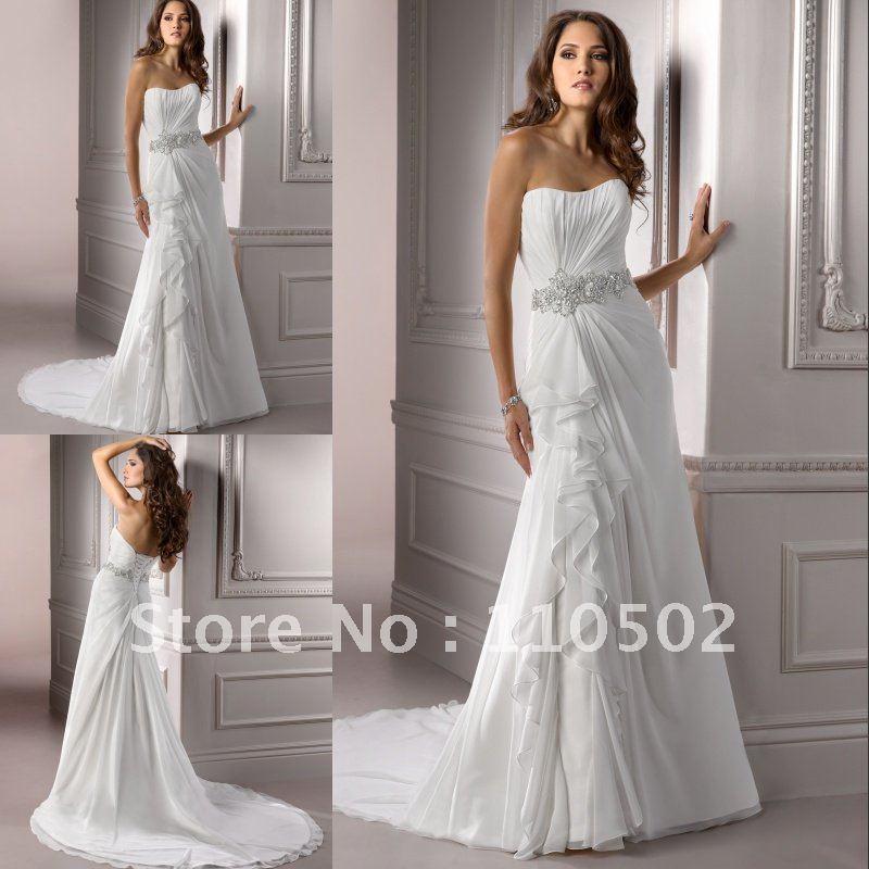 Fabulous chiffon beaded strapless wedding dress pattern 2015-in ...