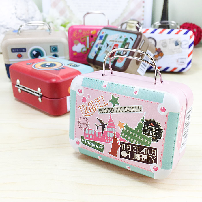 New Model Retro Suitcase Creative Storage Tin Candy Boxes