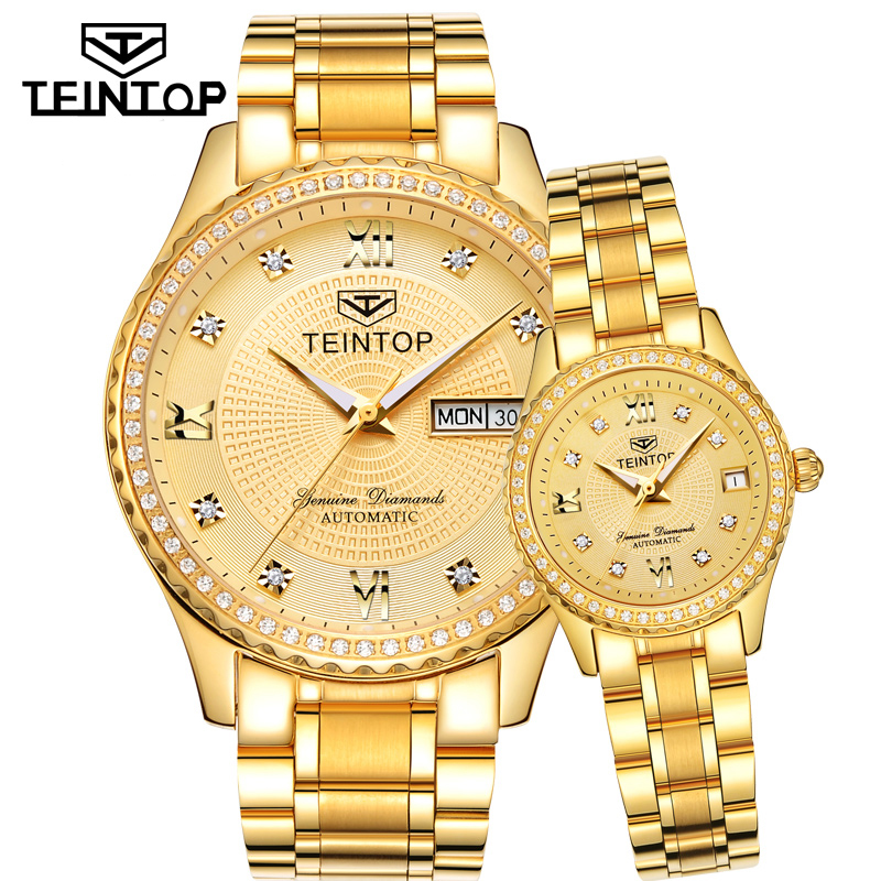 TEINTOP Brand Couple Watch Men Women Automatic Mechanical Watches Gold Luxury Clock Diamond Dial Relogio Masculino Lover Gift