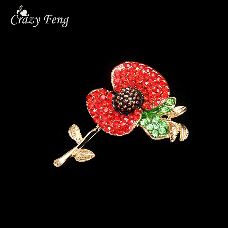 Fashion red enamel pins rose gold color poppy flower crystal fashion red enamel pins rose gold color poppy flower crystal rhinestones brooches for women lapel pins jewelry scarf collar gift mightylinksfo