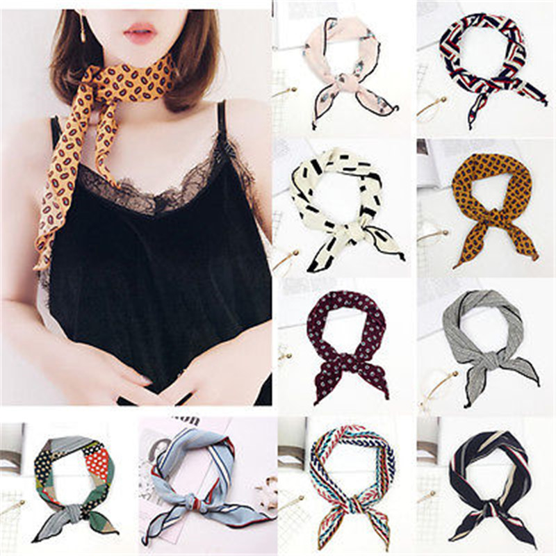 Summer Lady Women Triangular Floral Print   Scarf   Ribbon Headband Neckerchief Head Neck Kerchief   Scarves   &   Wraps