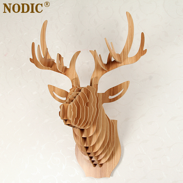 NODIC,home Decoration,Deer Head Of Wooden Crafts,animal Head Wall Decor,
