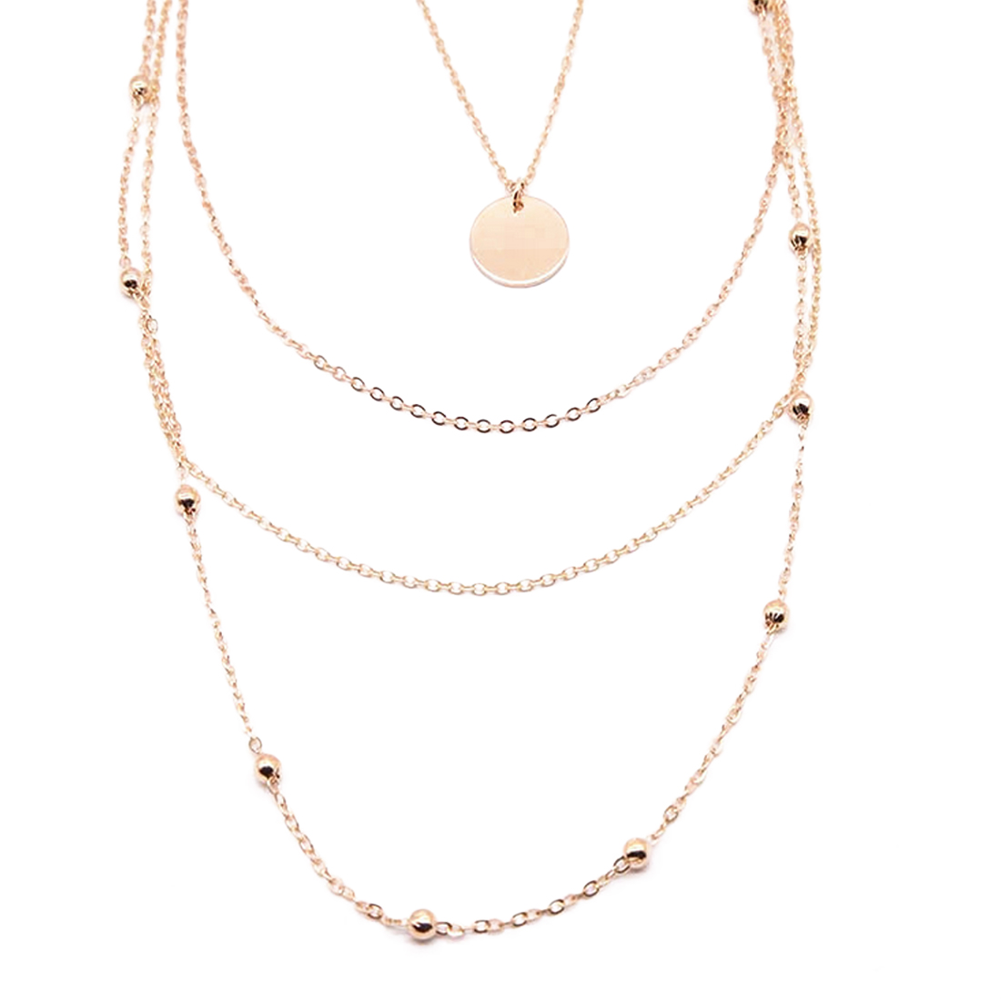 Gold Choker Necklace Multi Layer Chain Crystal Moon Star