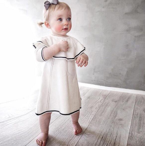 2cc530dbce19 autumn winter baby dress ruffle cotton woolen toddler infant princess girls  dress knitted crochet white 1 year birthday dress