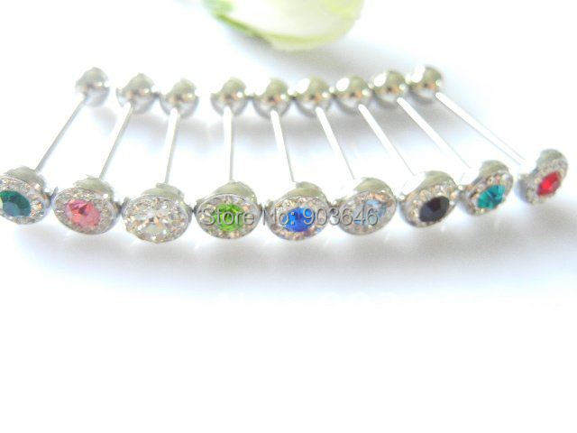 LOT50pcs Free shippment Body Piercing Jewelry-Crystal Tongue Ring Bar/Nipple Barbells 14g~1.6mm Mix Colors