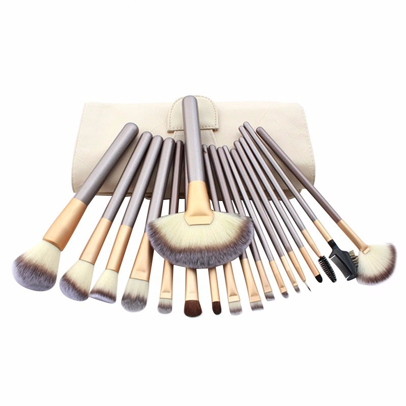 12/18/24pcs Make Up Brush Set Soft Synthetic Professional Cosmetic Makeup Foundation Powder Blush Eyeliner Brushes Kit professional bullet style cosmetic make up foundation soft brush golden white