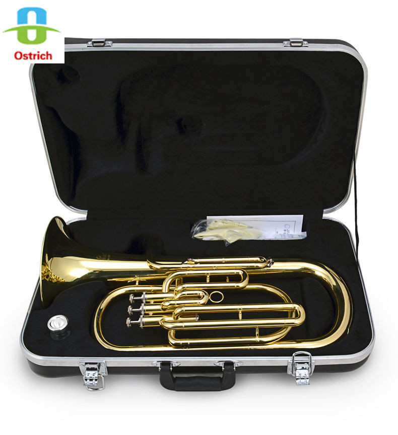 High-Grade 3 Piston Baritone Horn B-Flat Gold Brass With Case changchai 4l68 engine parts the set of piston piston rings piston pins