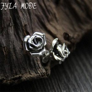 Fyla Mode New Elegant New Sterling Silver S925 Earrings Women Pretty Rose Flower Stud Earrings 11*9.4mm 1.70G 1PAIR WTS001