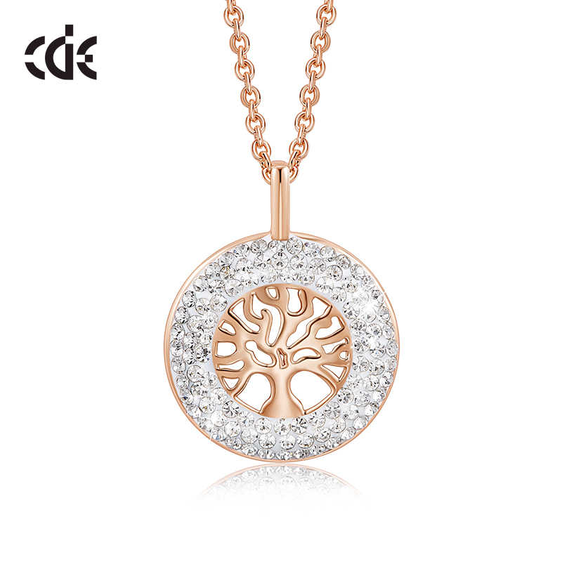 CDE Women Gold Necklace Pendant Embellished With crystals from Swarovski 18K Rose Gold Tree of Life Jewelry Christmas Gift