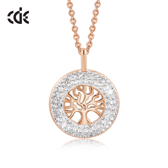 CDE Fashion Luxury Women Necklace Pendant crystals from Swarovski Tree of Life Jewelry Sweet Romance Christmas Gift