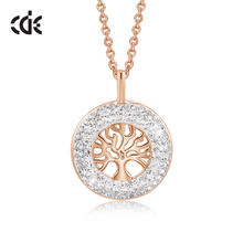 CDE Fashion pendentif cristaux de larbre de vie de Swarovski, collier luxueux pour femmes, bijou adorable, cadeau de noël