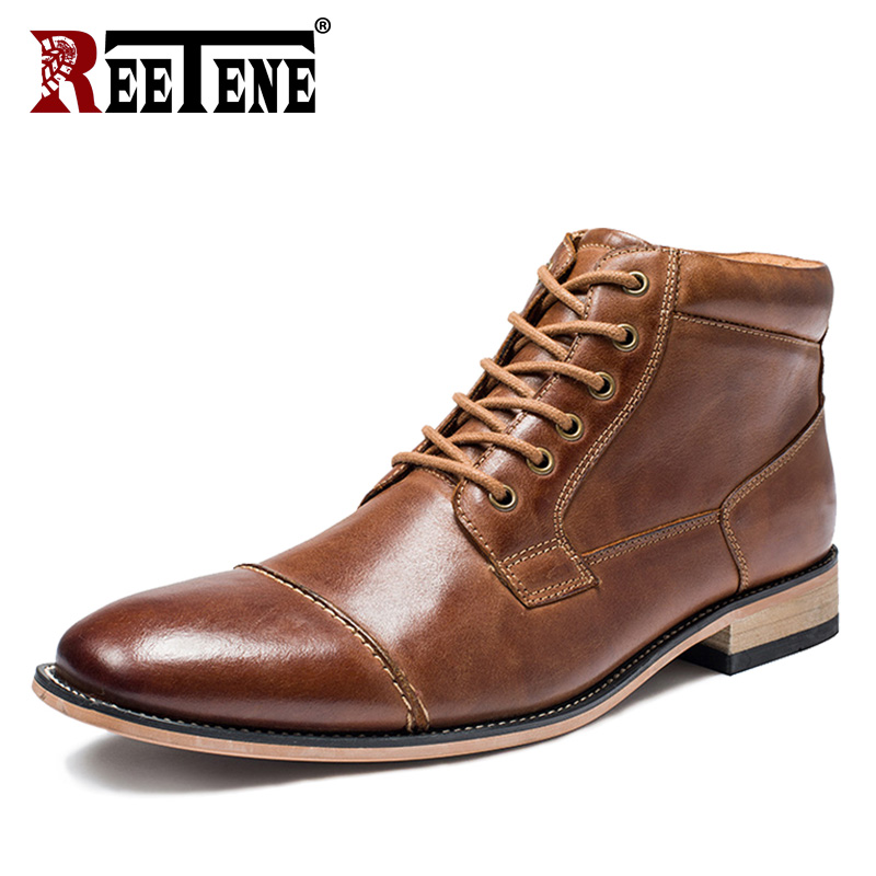 REETENE New Arrival Man Comfortable Shoes Men Genuine Leather Men'S Casual Men Shoes Lace Up Working Ankle Boots Male Shoes