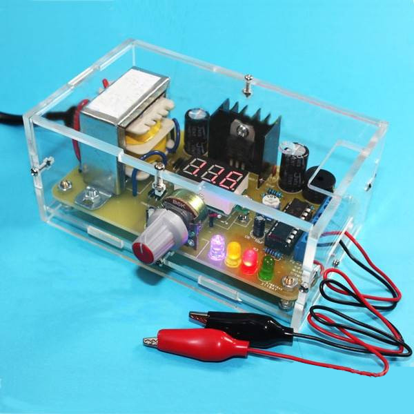 Factory Wholesale Free Shipping EU 220V DIY LM317 Adjustable Voltage Power Supply Board Learning Kit With Case lm317 adjustable dc power supply voltage diy voltage meter electronic training kit parts