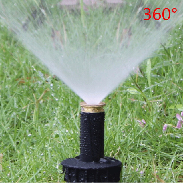 "Image 5 - 1PC 90 360 Degree Pop up Sprinklers Plastic Lawn Watering Sprinkler Head Adjustable Garden Spray Nozzle 1/2"" Female Thread-in Garden Sprinklers from Home & Garden"