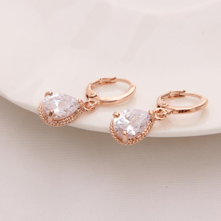 Gold Color Earrings Green Water Drop CZ Stone Pierced Dangle Earrings Women/Girls Long Drop Earrings fashion jewelry 18