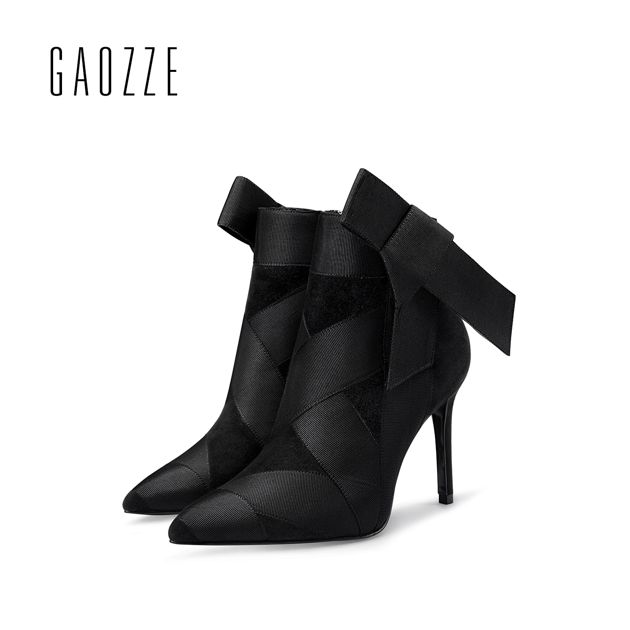 GAOZZE womens boots winter 2017 genuine leather pointed ankle boots for women butterfly knot high heel side zipper female boots new winter sexy high quality women butterfly high heel pointed boots exquisite beautiful wing ankle boot female banquet paty boo