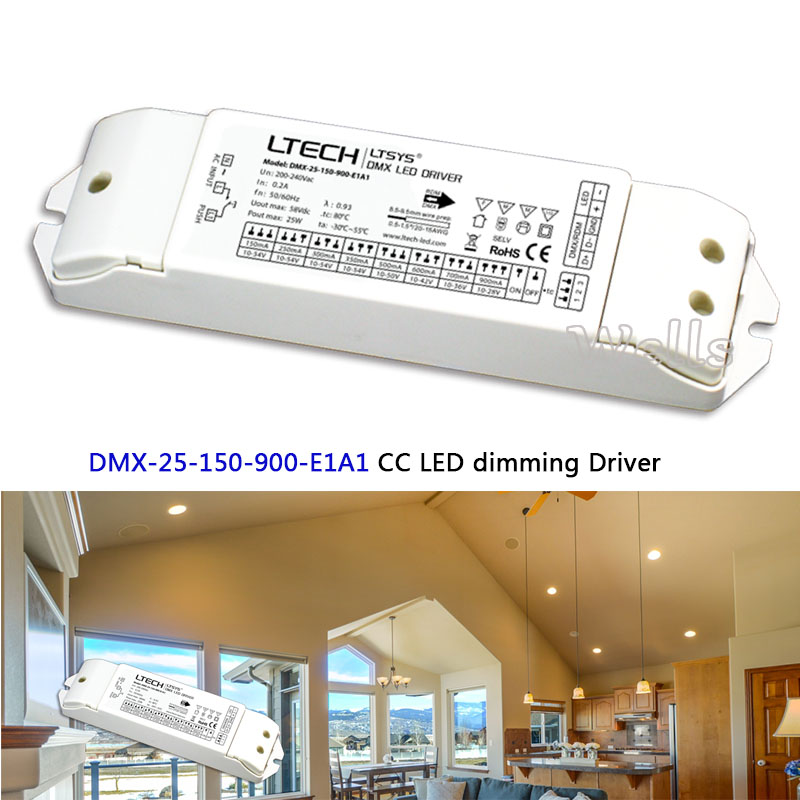 New 150-900mA 25W 200-240VAC DMX-25-150-900-E1A1 CC DMX LED dimming Driver instead of DMX-25-180-700-F1P1 LED Driver цена 2017