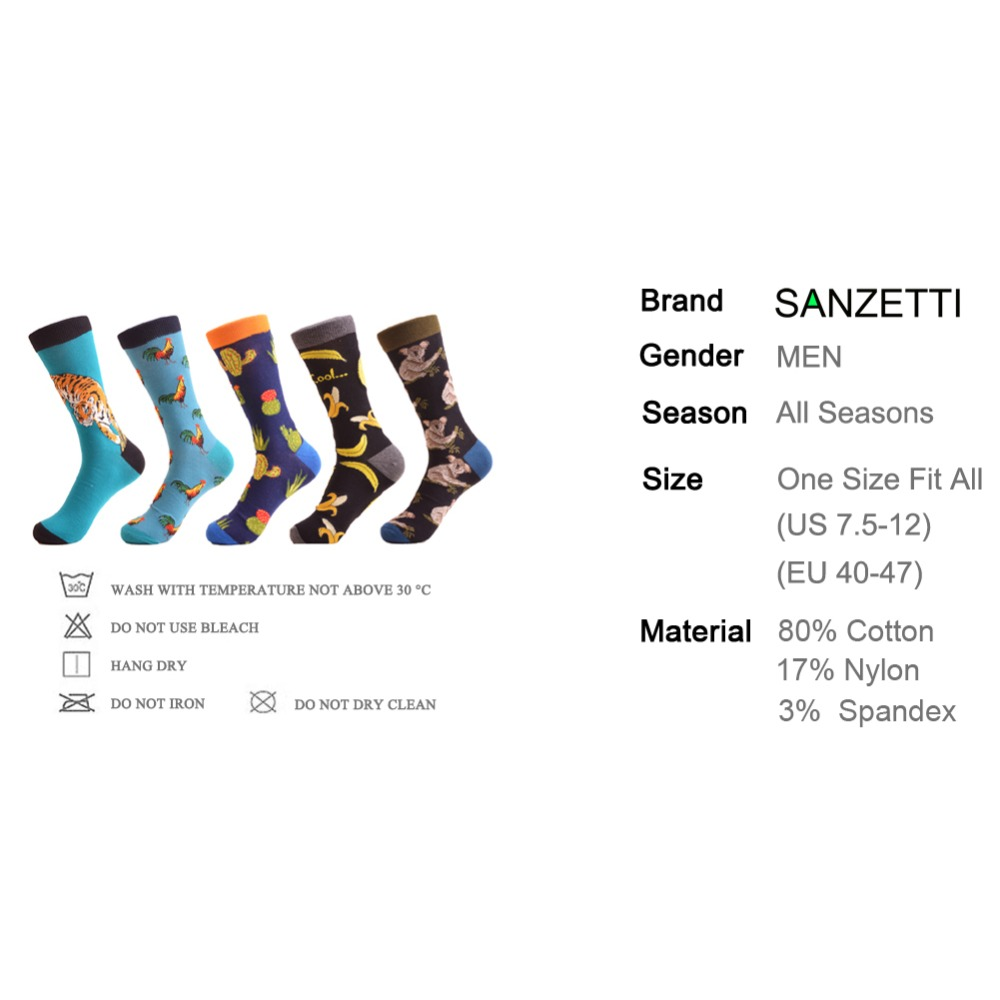 SANZETTI 5 pairs/lot Corlorful Mens Cotton Causal Crew Skateboard Socks Novelty Cock Tiger Pattern Male Dress Wedding Socks