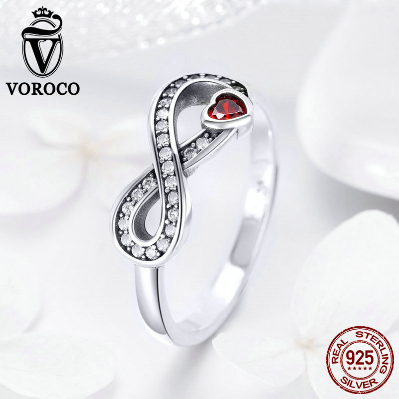 Voroco Fashionable Flower S925 Sterling Silver Romantic Black Crystal Ring Size