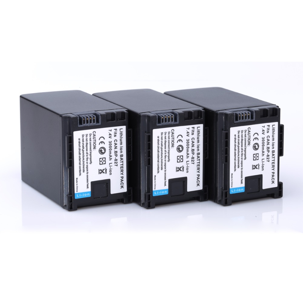 [HI-BTY] 3Pcs BP-827 3000mAh Camcorder Battery for Canon VIXIA HF10 HF11 HF100 HF20 HF200 HF S10 S11 S100 S20 S21 S200 S30 G10 средство от моли yue le department store