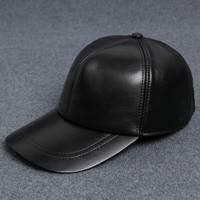 Casual Baseball Cap Men S Outdoor Sports Solid Sheepskin 100 Genuine Leather Hat Golf Caps Elderly