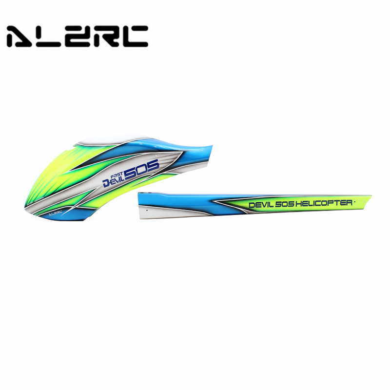 Well Packing ALZRC Devil Fast 505 RC Helicopter Parts Canopy Glass Fiber Head Tail Carbon Fiber Green Encasement Chassis Frame alzrc devil 450 helicopter parts 450 fast fiberglass shell