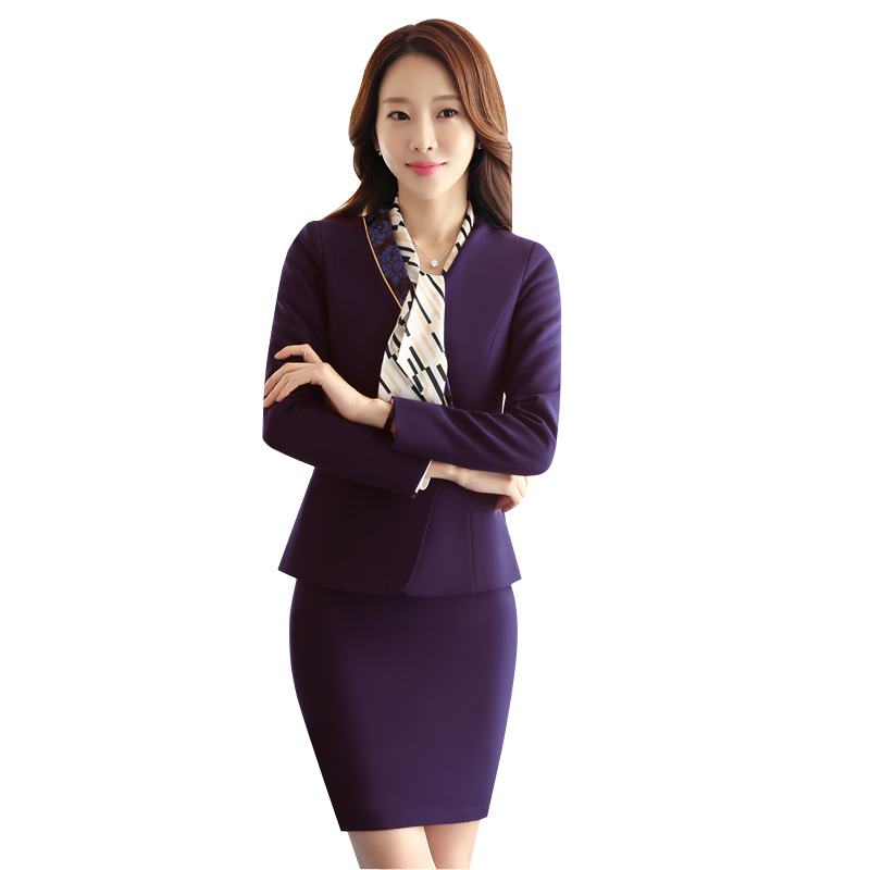 Autumn New Career Two Piece Sets Formal Skirt Suit Office Lady Style Uniform Design Women Business Suits Blazer Work Wear L1360