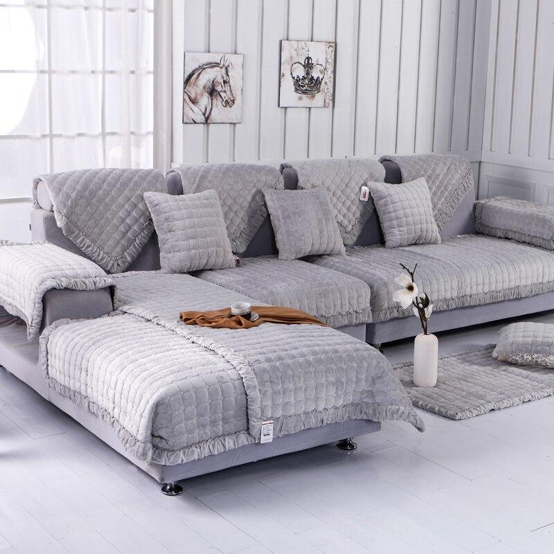 Fleeced Fabric Sofa Cover European Style Soft Modern Slip