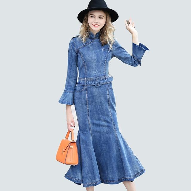 7575af5fe82632 Vintage Mode Frühen Herbst Denim Kleider Frauen 2019 Neue Europäische Stil Flare  Hülse Gürtel Blau Mid