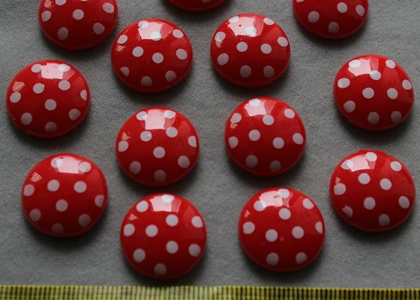 200pcs Resin Flatback Cute polka dots red round gem cabochon Cabs -DIY scrapbook, hair bow and flower centers