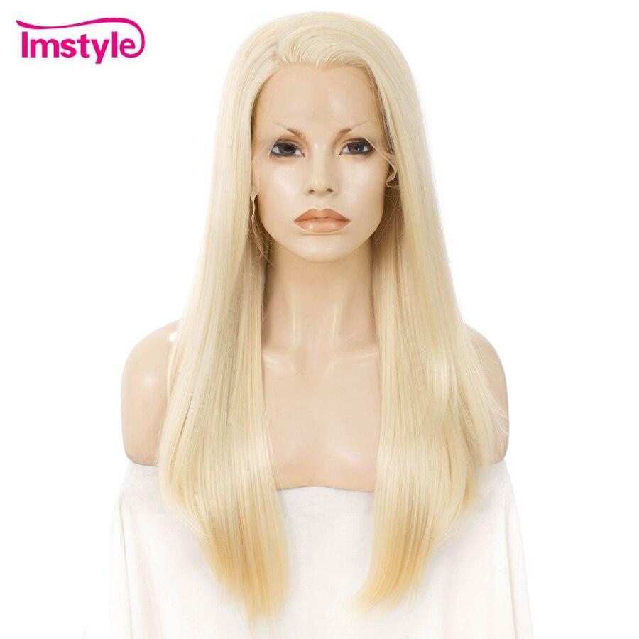 Imstyle 613 Blonde Lange Rechte Pruik Synthetische Lace Front Pruik Voor Vrouwen Hittebestendige Vezel Lijmloze Pruik Natuurlijke Cosplay Pruiken