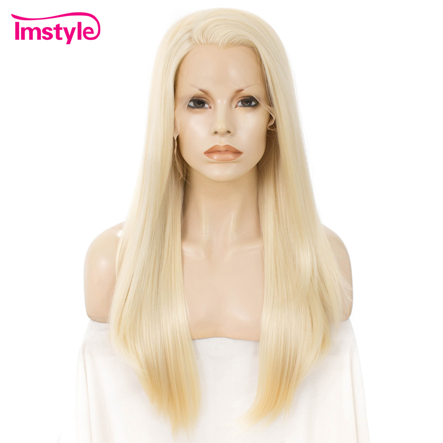 Imstyle 613 Blonde Long Straight Wig Synthetic Lace Front Wig For Women Heat Resistant Fiber Glueless Wig Natural Cosplay Wigs