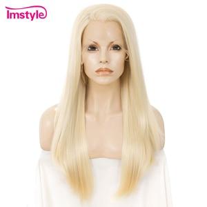 Imstyle 613 blond peruka z długich prostych włosów syntetyczna koronka peruka Front dla kobiet włókno termoodporne Glueless peruka Natural Cosplay peruki