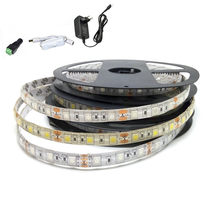 5m 300 LED SMD5050 No waterproof 12V flexible light 60 led/m,6 color LED strip warm white/blue/green/red+Power Adapter Full Set(China)