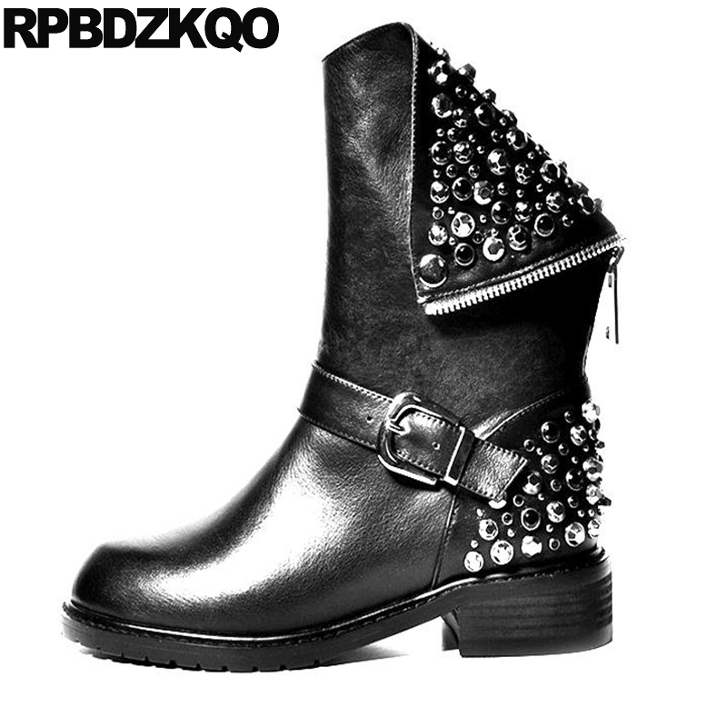 Designer Biker Stud Chunky Rivet Shoes Mid Calf Wide Women Genuine Leather Punk Rock Boots Celebrity Black Female Fashion Ladies