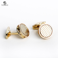 TOMYE Mens Cufflinks Fashion Round Gold Suit Shirt Wedding Cuff Links Luxury Gift XK19S052