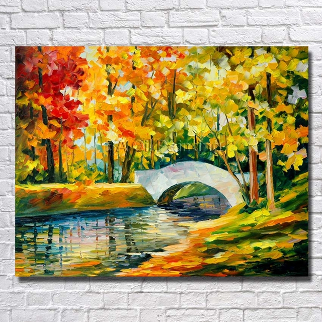 Picture Handpainted Modern Art Beautiful Clean River Scenery Palette Knife No Framed Oil Painting On Canvas
